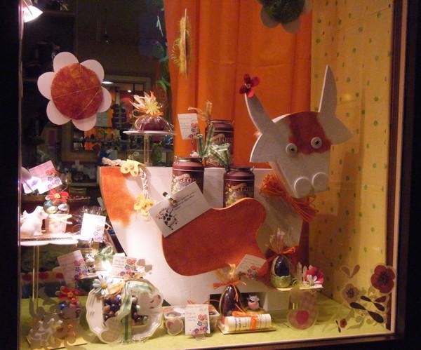 Decoration paques vitrine dco de fte murale pc bois pques lapin petit oeuf style signe de vo - Decoration paques vitrine ...